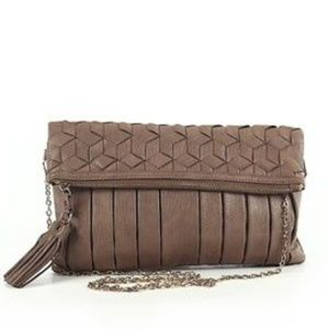 Urban Expressions Woven Pleated Crossbody Clutch